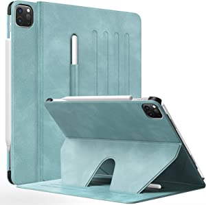 MoKo Case Fit New iPad Pro 12.9 inch Case 2021 (5th Gen) with Pencil Holder, Shockproof Protective Cover, [Support Apple Pencil 2 Attach] Multi-Angle Magnetic Stand, Auto Sleep/Wake, Cloud Blue