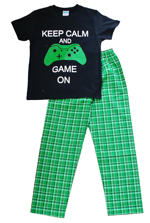 Boy's Keep Calm and Game ON Long Pyjamas 9 to 14 Years Green Check