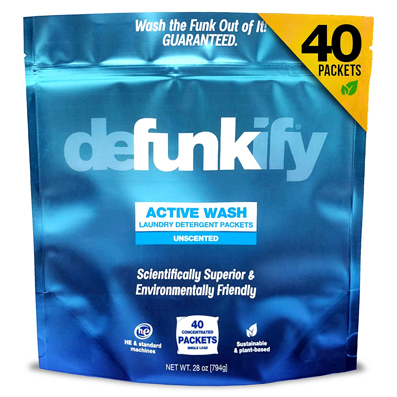 Defunkify New Active Wash Laundry Detergent Pods, All Natural, Plant-Based, Enzyme Cleaner, Active Wear Odor and Stain Remover, Free and Clear, Unscented Tablets, Safe for All Ages - 28 oz (40 Loads)