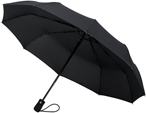 Crown Coast Black Travel Umbrella - 60 MPH Windproof Lightweight for Men Women and Kids,
