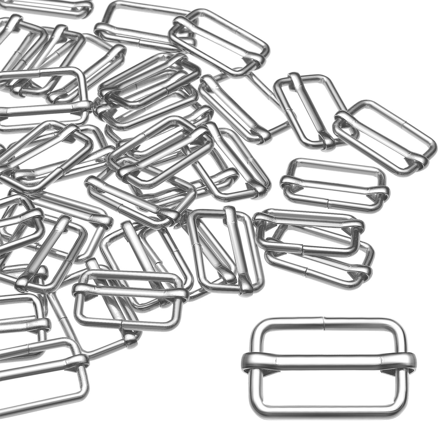 Tatuo 50 Pieces Slide Buckle 1 Inch Metal Tri-Glide Slides Silvery Slide Buckle Rectangle Adjustable Webbing Slider for Fasteners Strap Backpack DIY Accessories