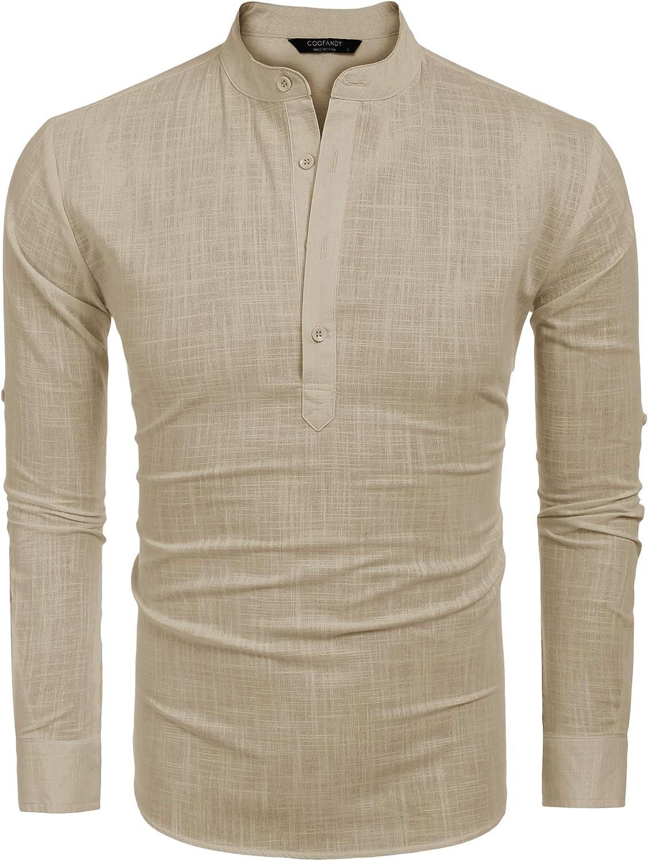 COOFANDY Mens Cotton Linen Henley Shirt Casual Beach Lightweight Solid Top Shirt