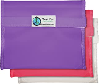 product image for Planet Wise Reusable Tint Sandwich Bag - 3-Pack - Hook and Loop (Pink/Purple)