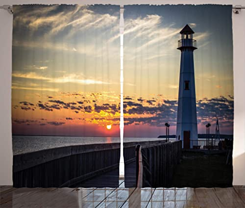 Ambesonne Lighthouse Curtains, Michigan Sunrise Shores of St. Igance, Michigan Nautical Journey, Living Room Bedroom Window Drapes 2 Panel Set, 108 X 90 , Dimgray Orange