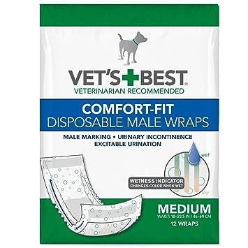 Vets Best - Pañales desechables para perro con indicador de humedad, ajuste confortable, talla