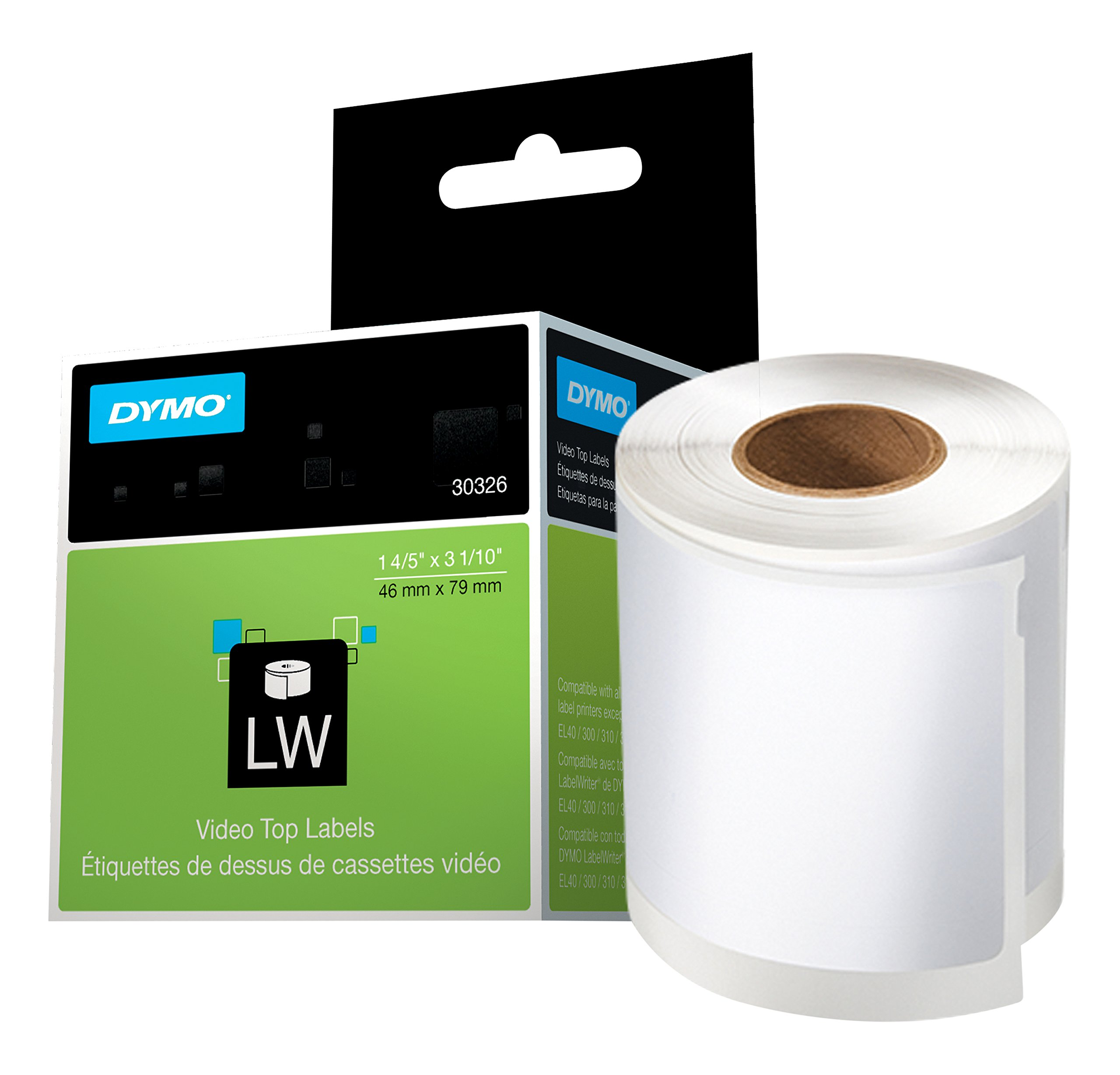 DYMO LW Video Top Labels for LabelWriter Label Printers, White, 1.8'' x 3.1'', 1 Roll of 150