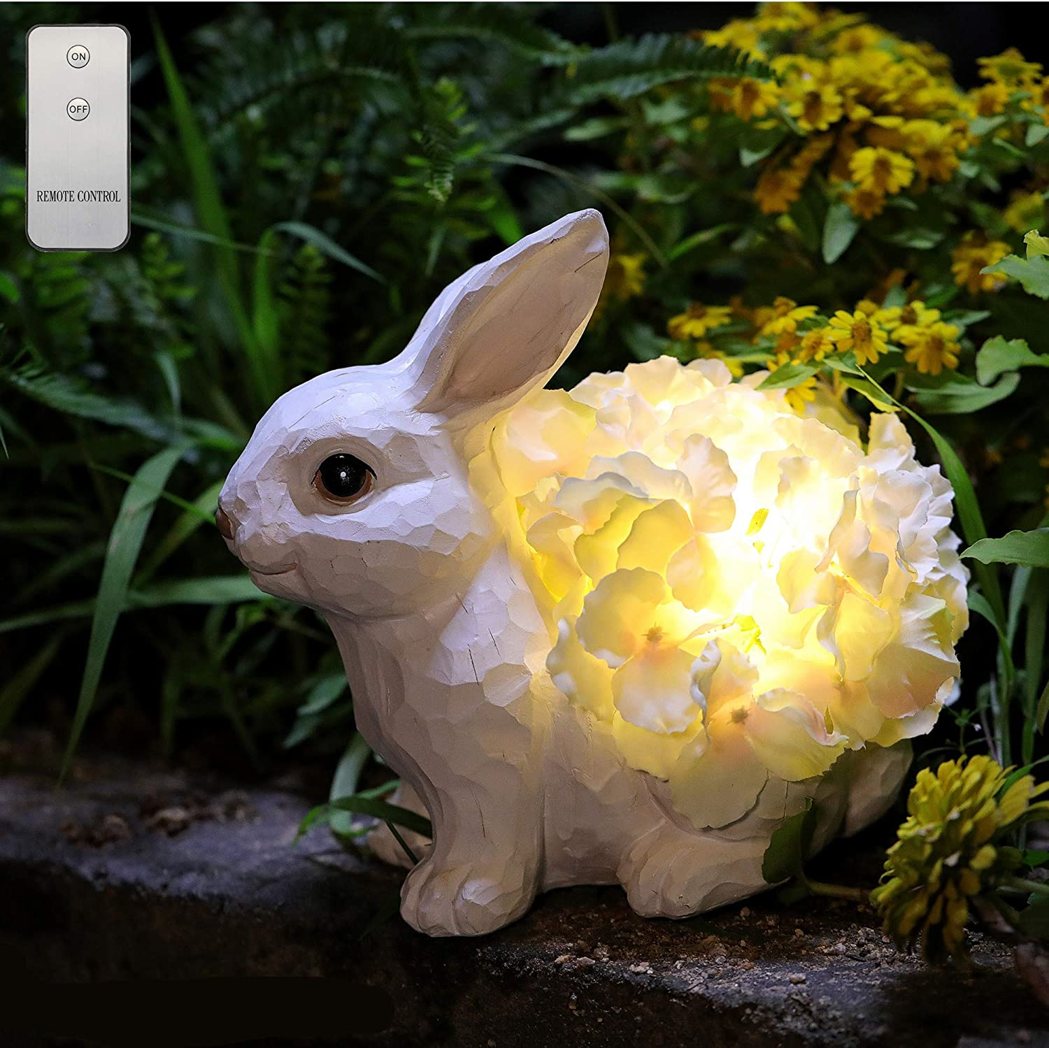 HDNICEZM Garden Statue Cute Rabbit Figurine with Flower Lights Warm White LED -Battery Powered Remote Control Rabbit Statue Night Light Home Garden for Backyard Pathway Patio