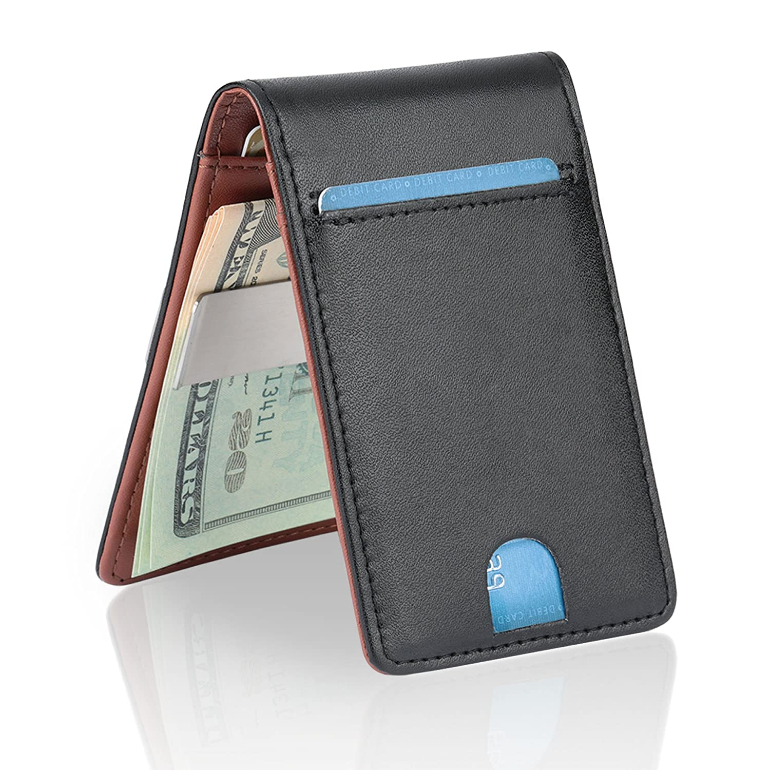 YOOMALL Leather Slim Money Clip Wallet for Men RFID Blocking Minimalist Card Holder
