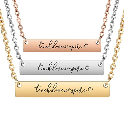 8222d48d643dc Amazon.com: Teach Love Inspire - Minimalist Horizontal Bar Necklace ...