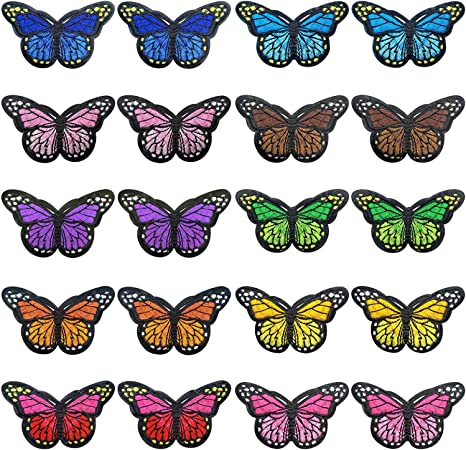 Multiple 20 Piece Butterfly Iron on Patches Embroidery Applique Patches Arts DIY