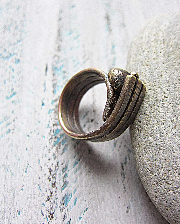 Adjustable hand forged minimalist ring sustainable brass
