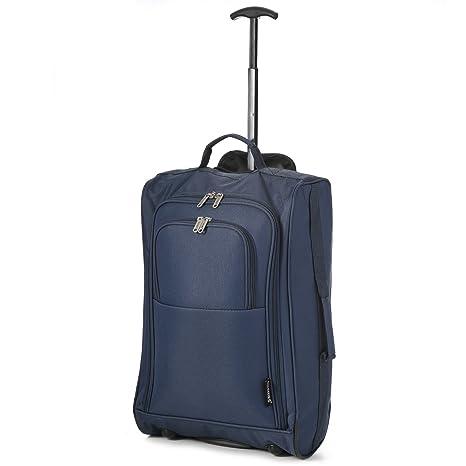 "19b67f624 5 Cities 21\""/55cm Black Carry On Lightweight Cabin Trolley Bag Hand"