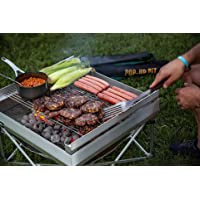 Campfire Defender Protect Preserve Pop-Up Fire Pit - Portable Outdoor Fire Pit/Fire Pan/Less Smoke - US Forest Service/B.L.M Fire Pan Compliant (Pop-Up Pit + Heat Shield + Trifold Grill Grate Kit)