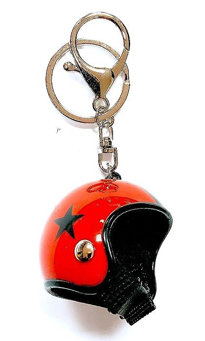 Gemelolandia Llavero Casco de Moto Rojo y Estrella Negra ...