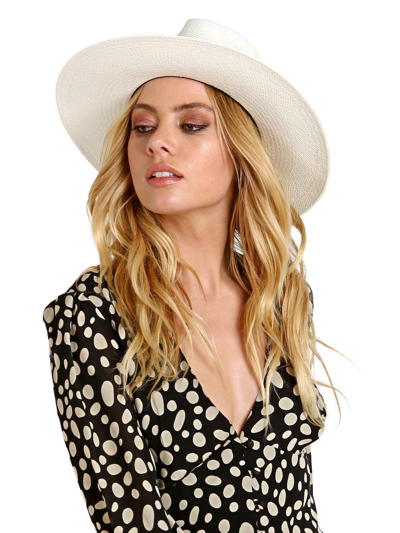 Janessa Leone Women's Aisley Short Brimmed Panama Hat, Bleach, Medium