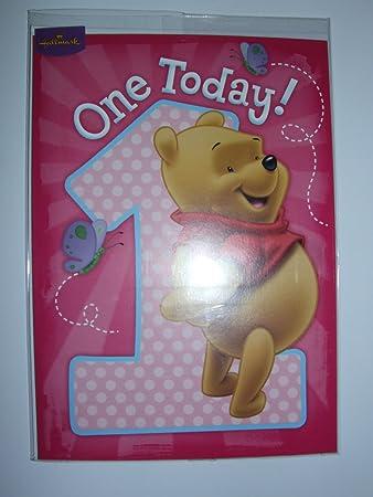 Amazon Disney Pooh Bear Age 1 Birthday Card By Hallmark
