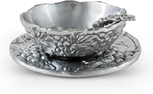 Arthur Court Designs Aluminum 3-pieces Antler Condiment Server Bowl 5.25 Diameter Plate 7
