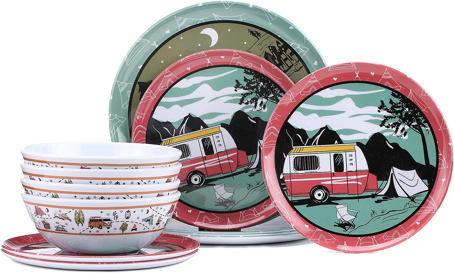 camping crockery for 4 people cups bowls dishwasher safe picnic camping. 16 pieces including plates H-Collection Melamine tableware set