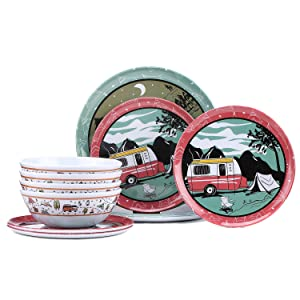 Melamine Dinnerware Set for 4, 12pcs Camping Dinner Dishes Set for Outdoor use, Dishwasher Safe