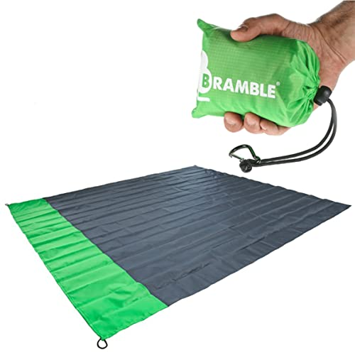 Ultra Compact - Bramble Durable, Beach Waterproof Pocket Picnic Blanket / Mat with Travel bag - Lime Green