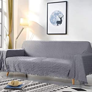 "TAOCOCO Couch Cover, Geometrical Pattern Weave Sofa Cover, Couch Covers for 3 Cushion Couch, Sectional Couch Covers for Home or Workplace, Couch Covers for Pets&Kids (90"" X133"", Dark Gray)"