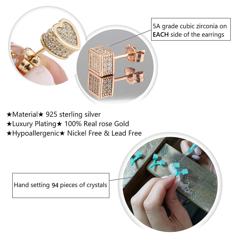 colore: oro rosa Orecchini a perno da donna in argento Sterling 925 EME con zirconia cubica bianca e cristallo a forma di cuore geometrico 5 A