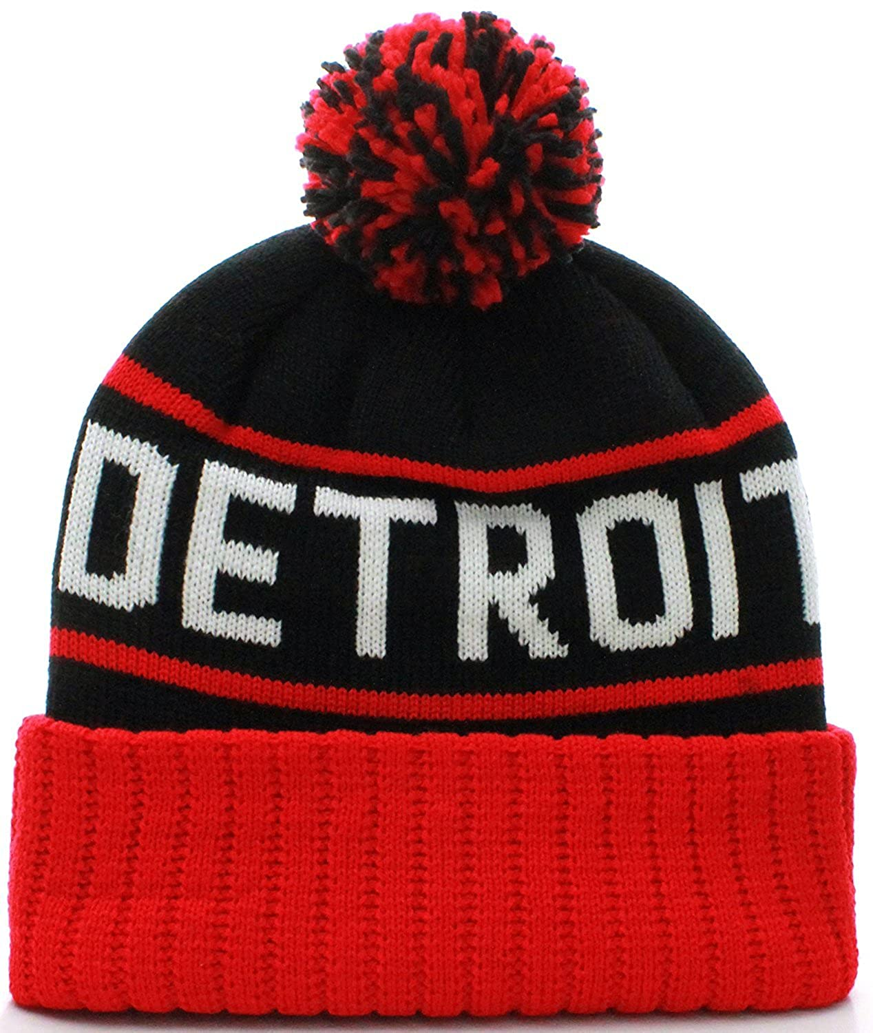 2d3426f517d Amazon.com  US Cities Detroit Michigan Cuff Knit Pom Pom Beanie Gorra Hat  Cap (Detroit Black Red)  Clothing