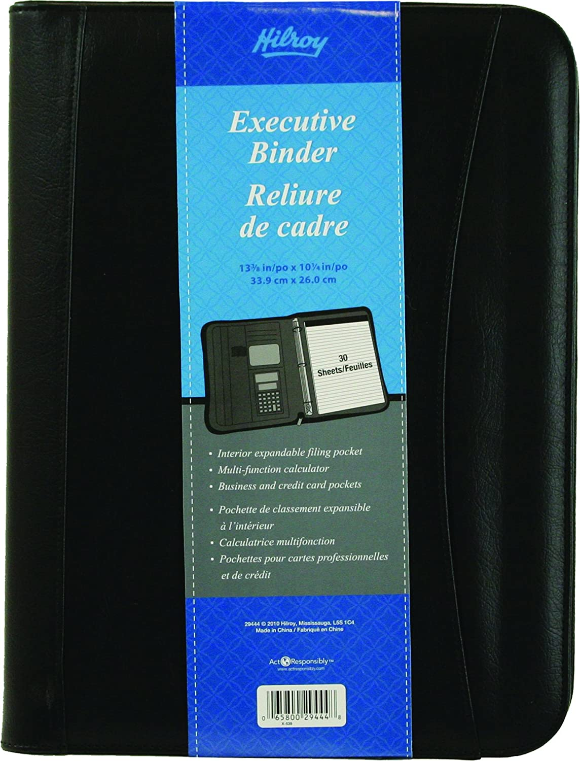 Hilroy 1 Inch Executive Binder, 10-1/4 X 13-3/8 Inches, Black (29444)
