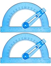 Boao 2 Pack Plastic Swing Arm Protractors 6 Inches Clear Protractors 180 Degree Math Protractor