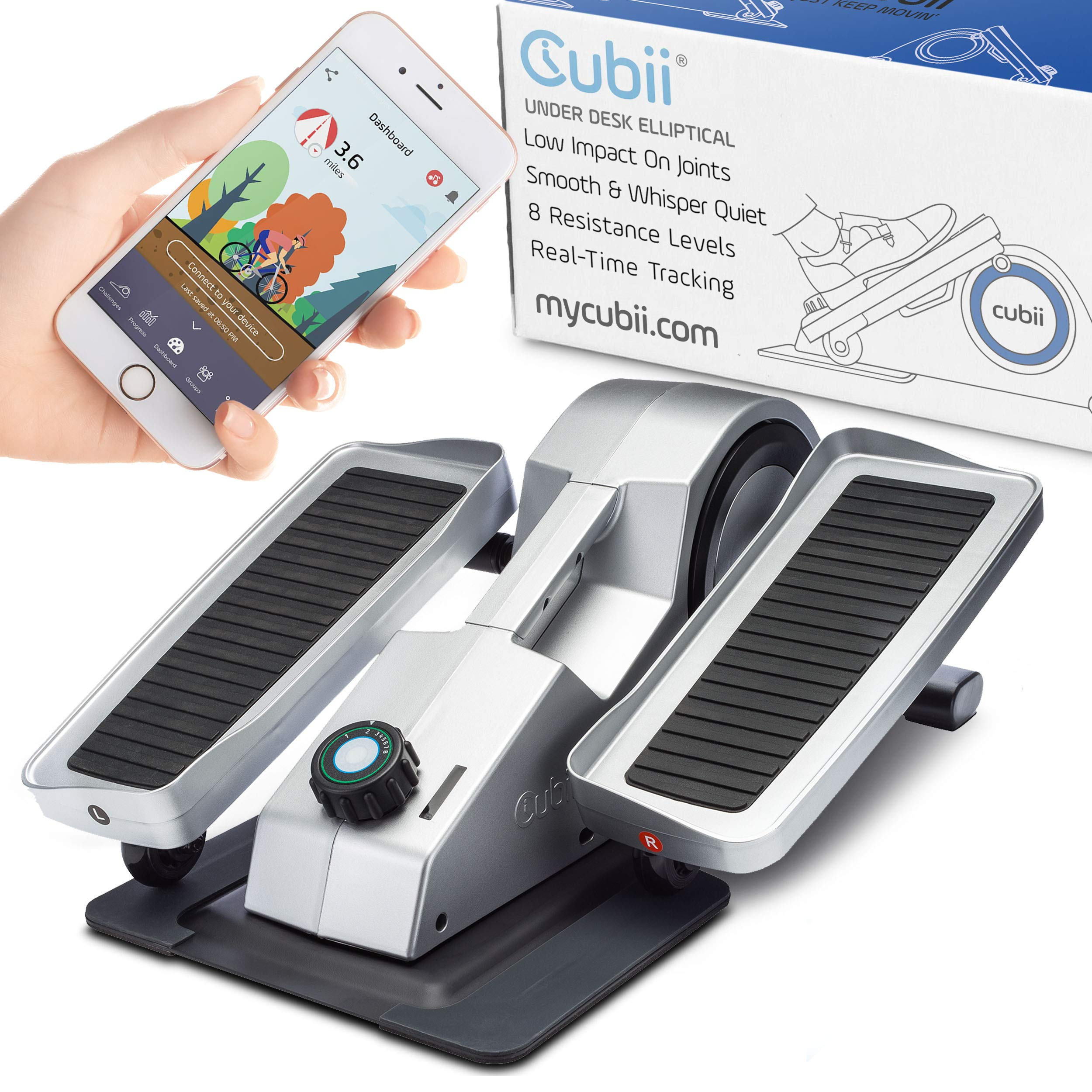 Cubii Under Desk Elliptical, Bluetooth Enabled, Sync w/ FitBit and HealthKit, Adjustable Resistance, Easy Assembly