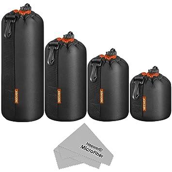 Neewer Bolsillo Funda cilíndrica para Objetivo 4PZ en 4 tamaños Bolsa Denso Protectora con cordón, Interior Naranja para Objetivos de réflex Digitales
