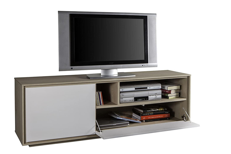 Vislone Mobile Porta TV Design Moderno in Truciolato 95x35x36 cm Bianco//Rovere