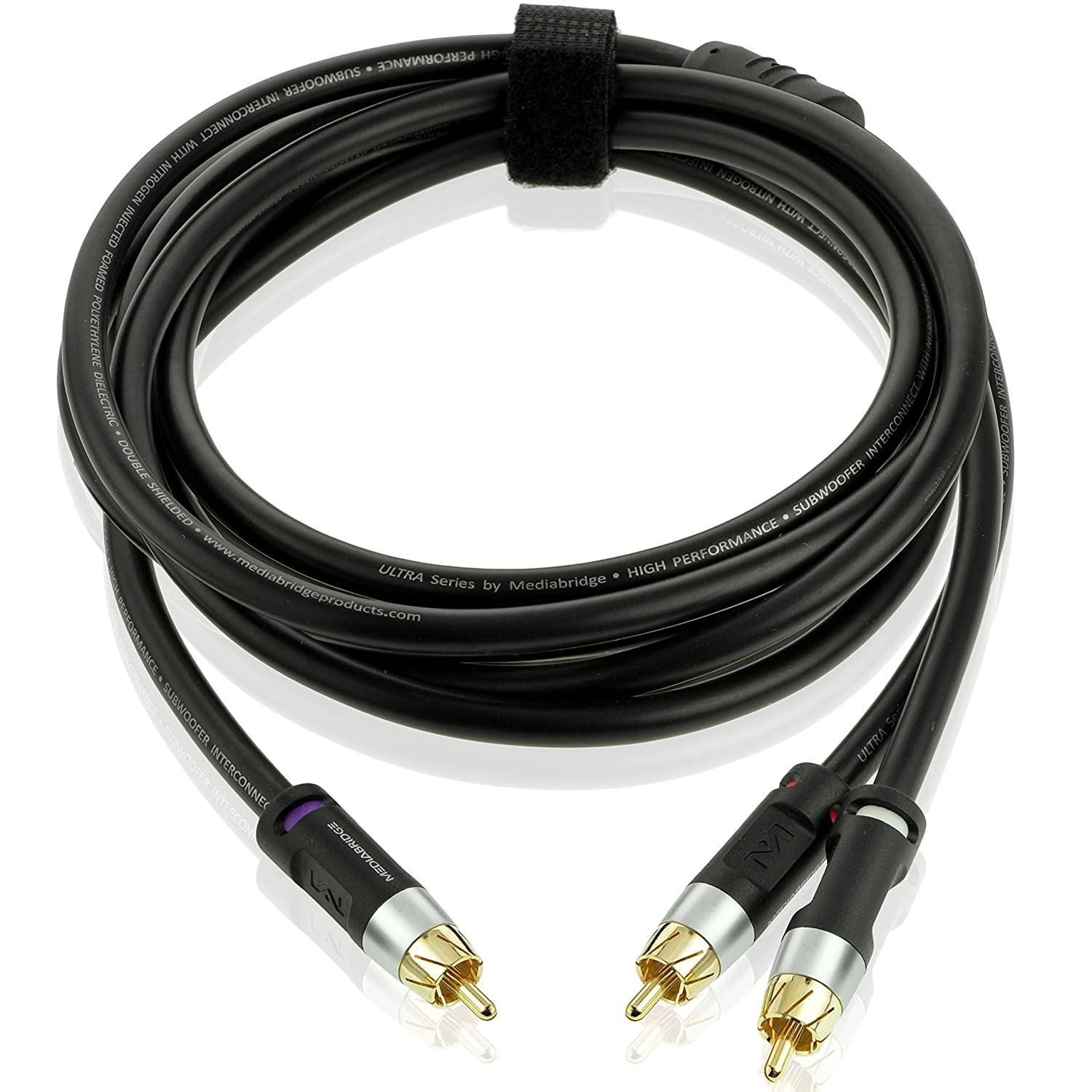 Mediabridge ULTRA Series RCA Y-Adapter (8 Feet) - 1-Male to 2-Male for Digital Audio or Subwoofer - Dual Shielded with RCA to RCA Gold-Plated Connectors - Black - (Part# CYA-1M2M-8B)
