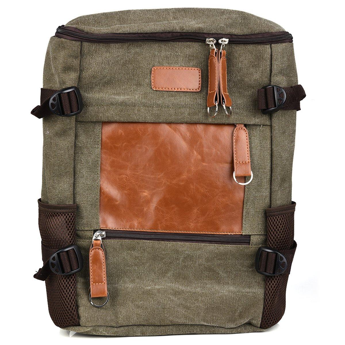 Olive/Brown Vintage Laptop College Backpack For Apple MacBook Pro 13'' w/Retina Series, MacBook Air 13.3'', MacBook Air 11.6'' Laptop