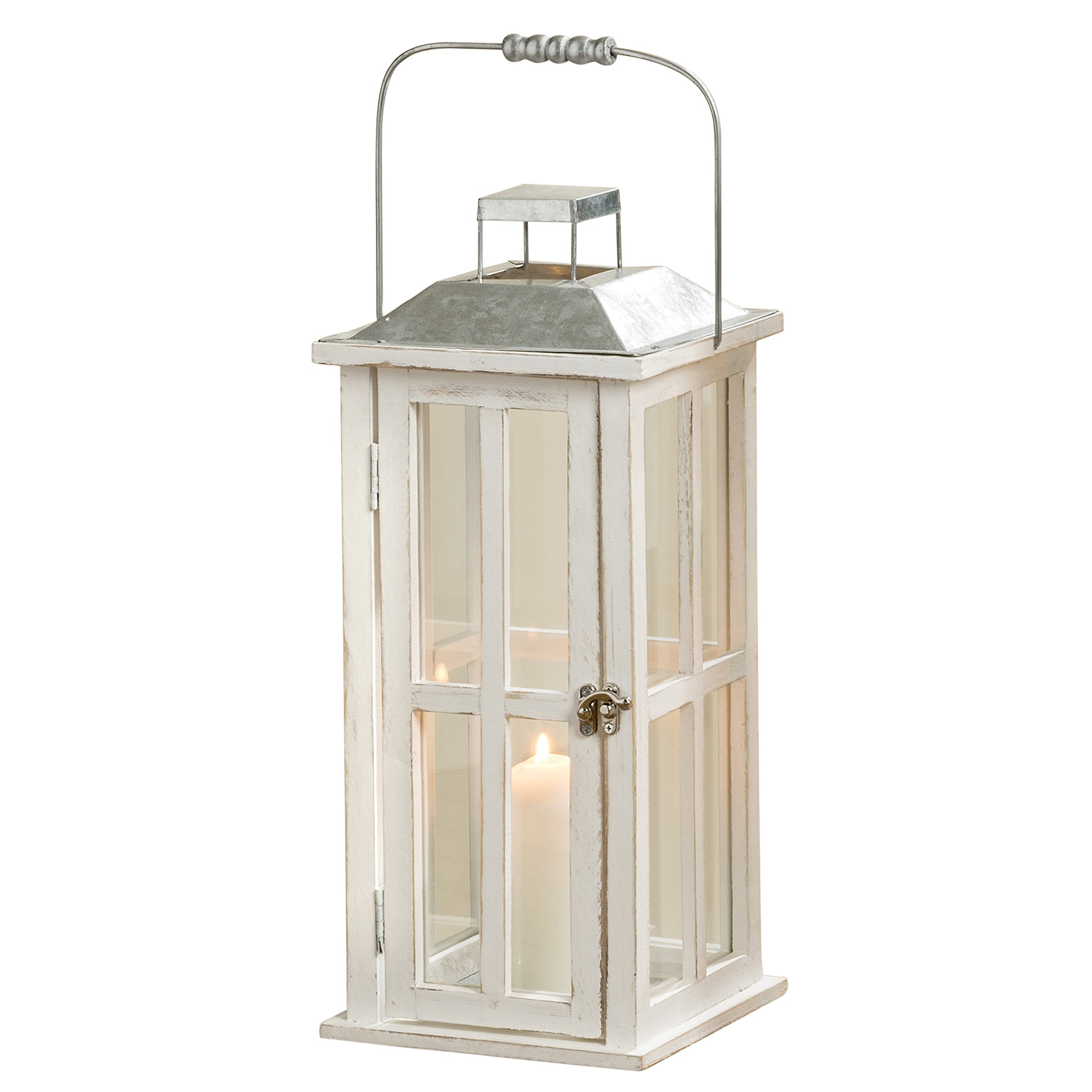 Whole House Worlds The Farm Fair Tall Candle Lantern, Galvanized Metal, Rustic Roof, White Washed Wood, Distressed Shabby Finish, Vintage Style, Over 1 1/2 Ft Tall, (17 3/4 Inches) By by Whole House Worlds