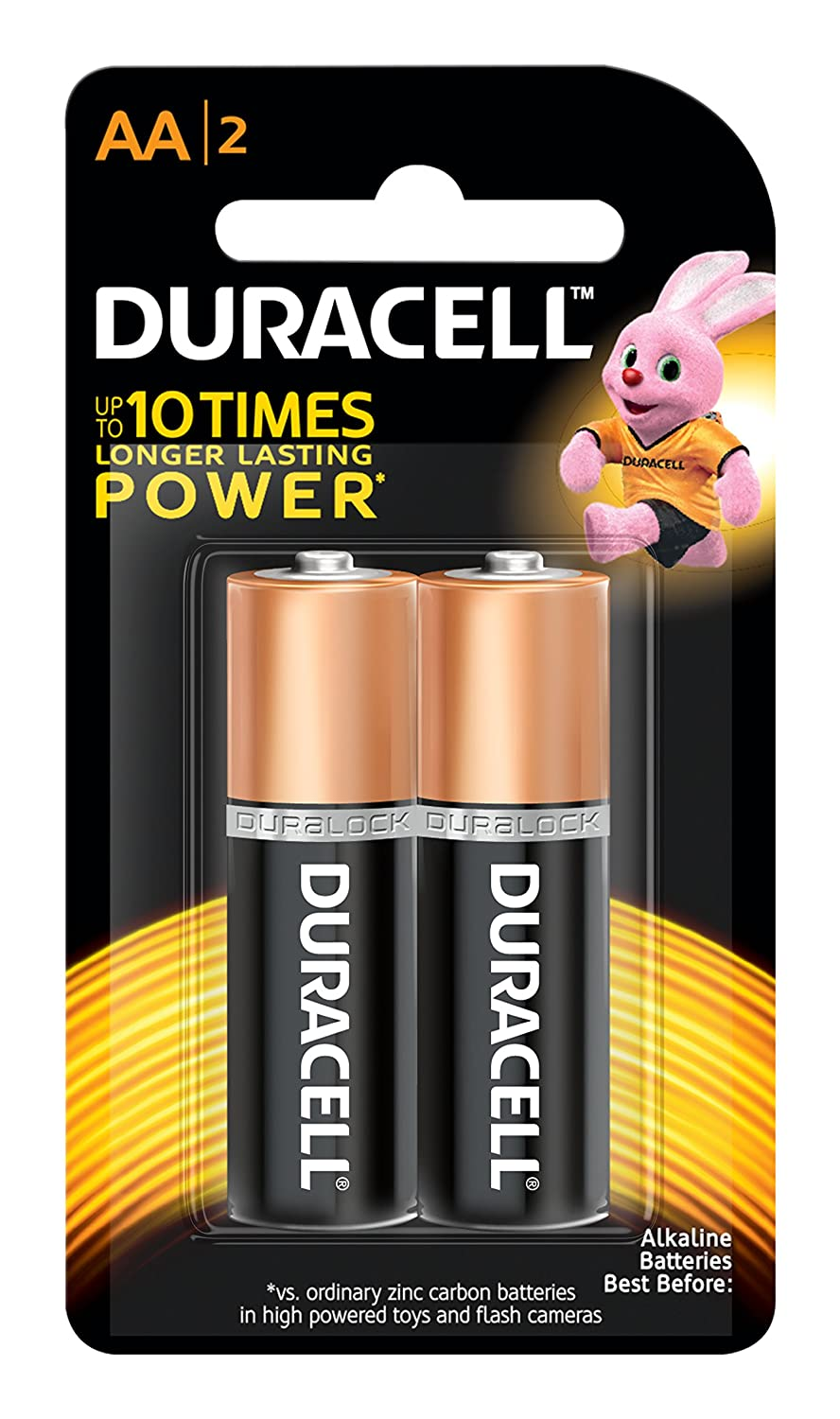 Duracell Alkaline AA Battery with Duralock Technology - 2 Pieces