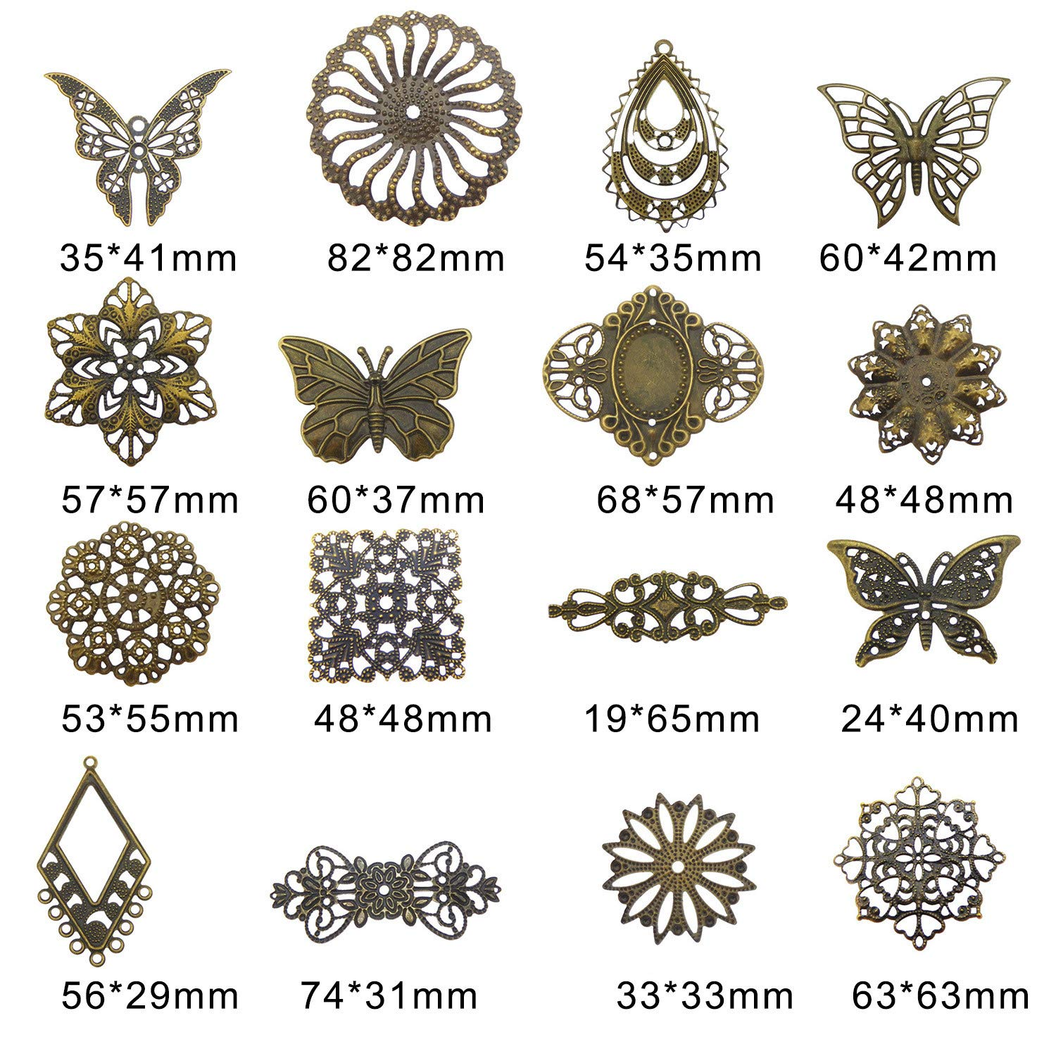 GraceAngie Wholesale 48 piece//pack Vintage Bronze Assorted Butterfly Hollow Flower Pattern Charms Pendants for Necklace Bracelets Jewelry Making DIY Handmade,1.2-3.2