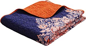 """Exclusivo Mezcla Luxury Reversible 100% Cotton Rich Printed Boho Stripe Quilted Throw Blanket 60"""" x 50"""" Machine Washable and Dryable"""