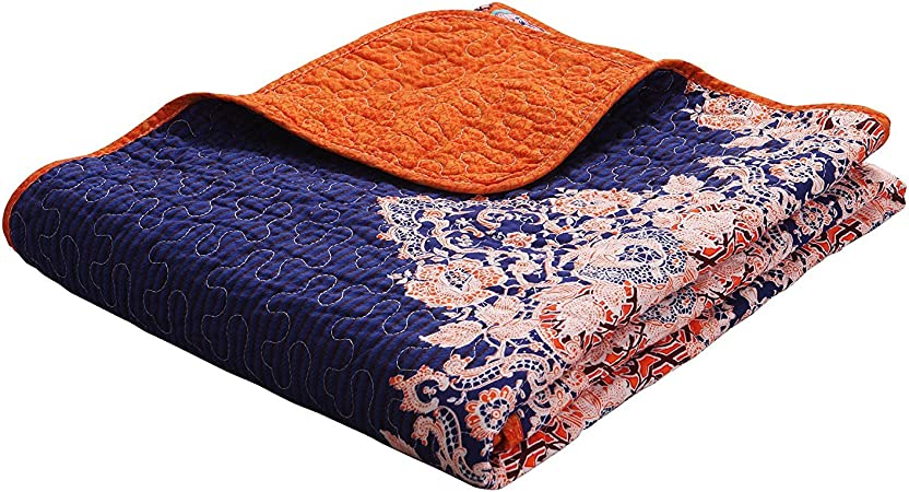 Exclusivo Mezcla Luxury Reversible 100 Cotton Rich Printed Boho Stripe Quilted Throw Blanket 60 X 50 Machine Washable And Dryable Home Kitchen Amazon Com