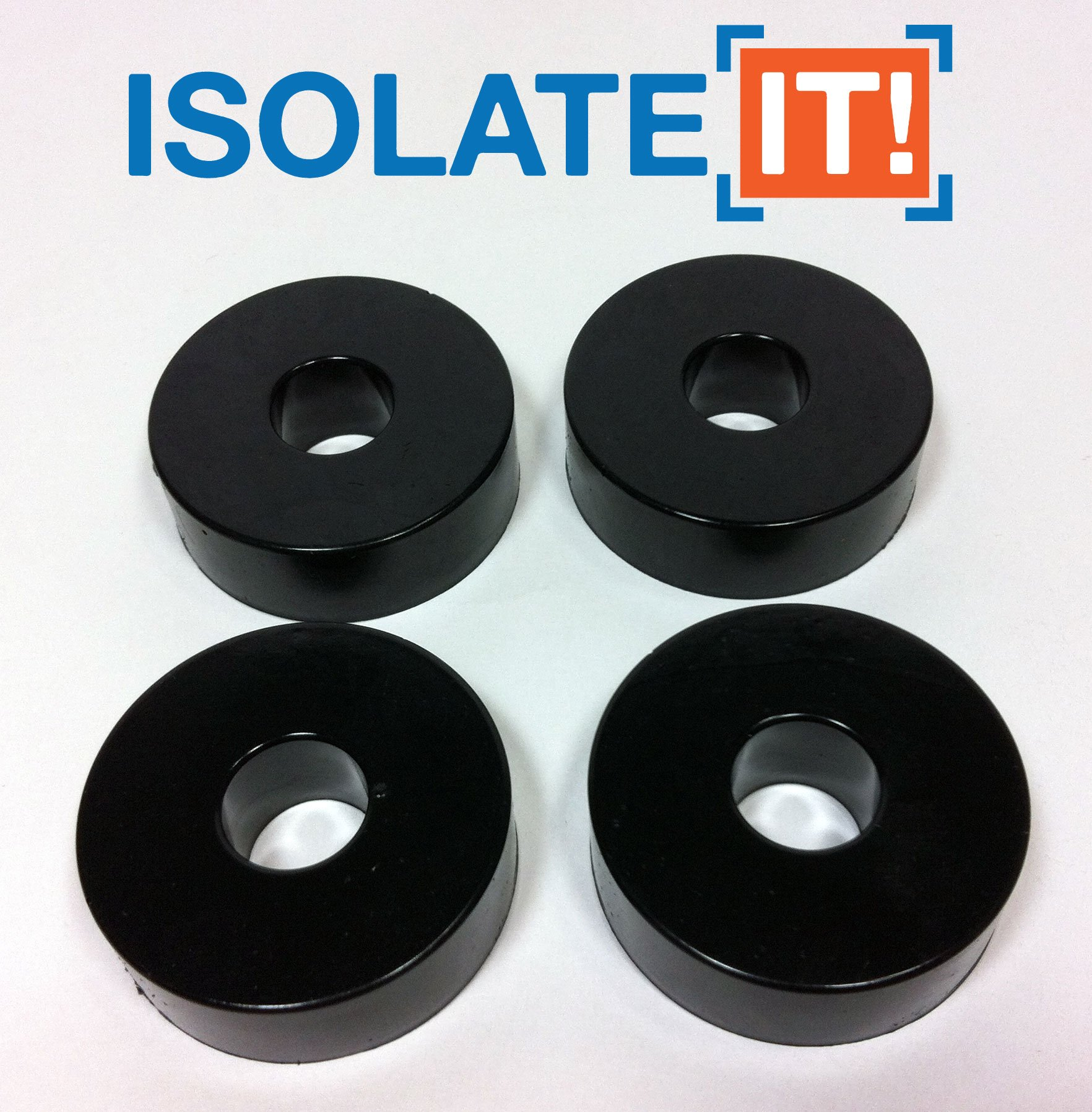 Isolate It: Sorbothane Vibration Isolation Washer 50 Duro (0.5'' ID - 1.5'' OD - 0.5'' Thick) - 4 Pack by Isolate It!