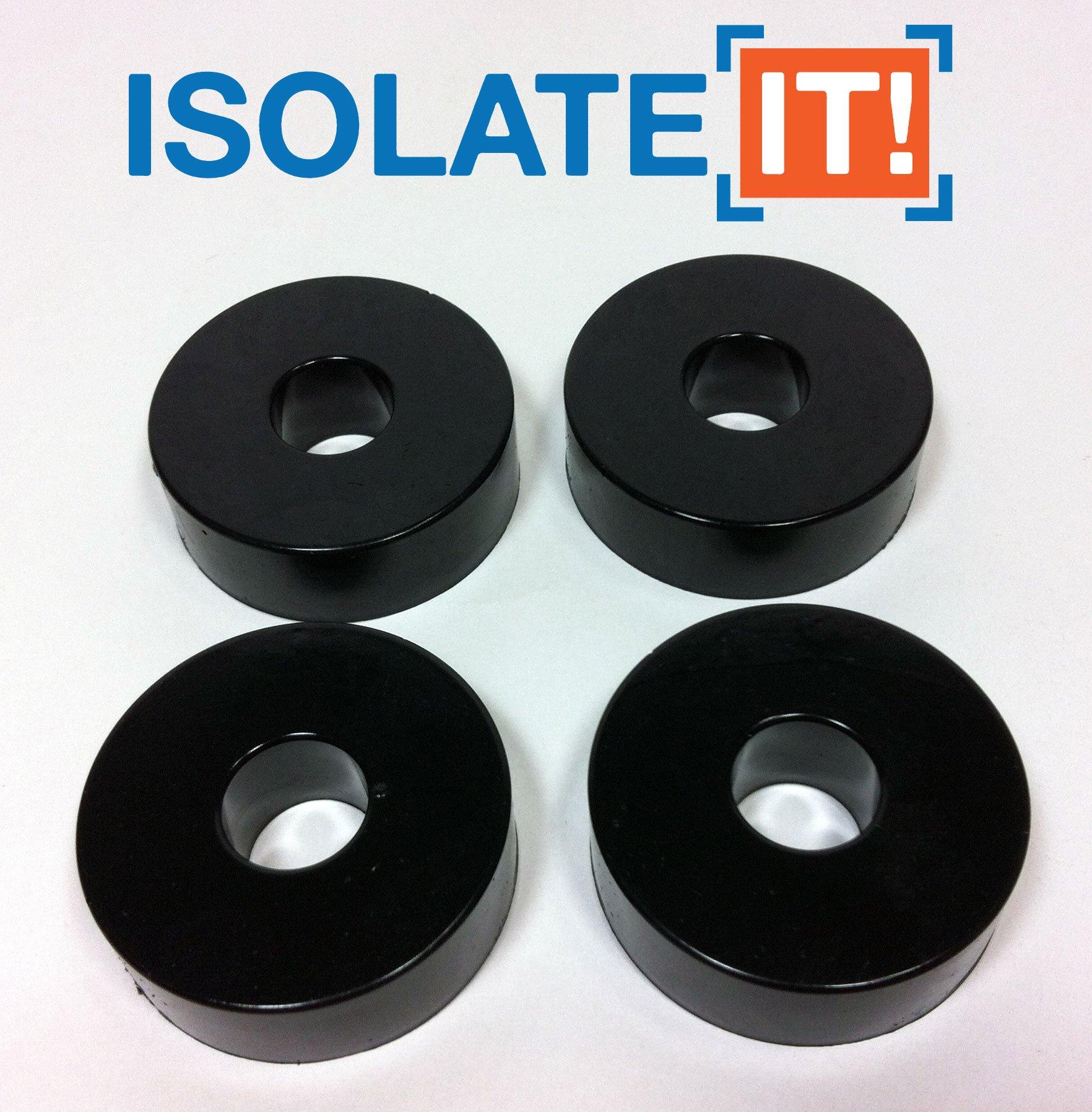 Isolate It: Sorbothane Vibration Isolation Washer 50 Duro (0.5'' ID - 1.5'' OD - 0.5'' Thick) - 4 Pack