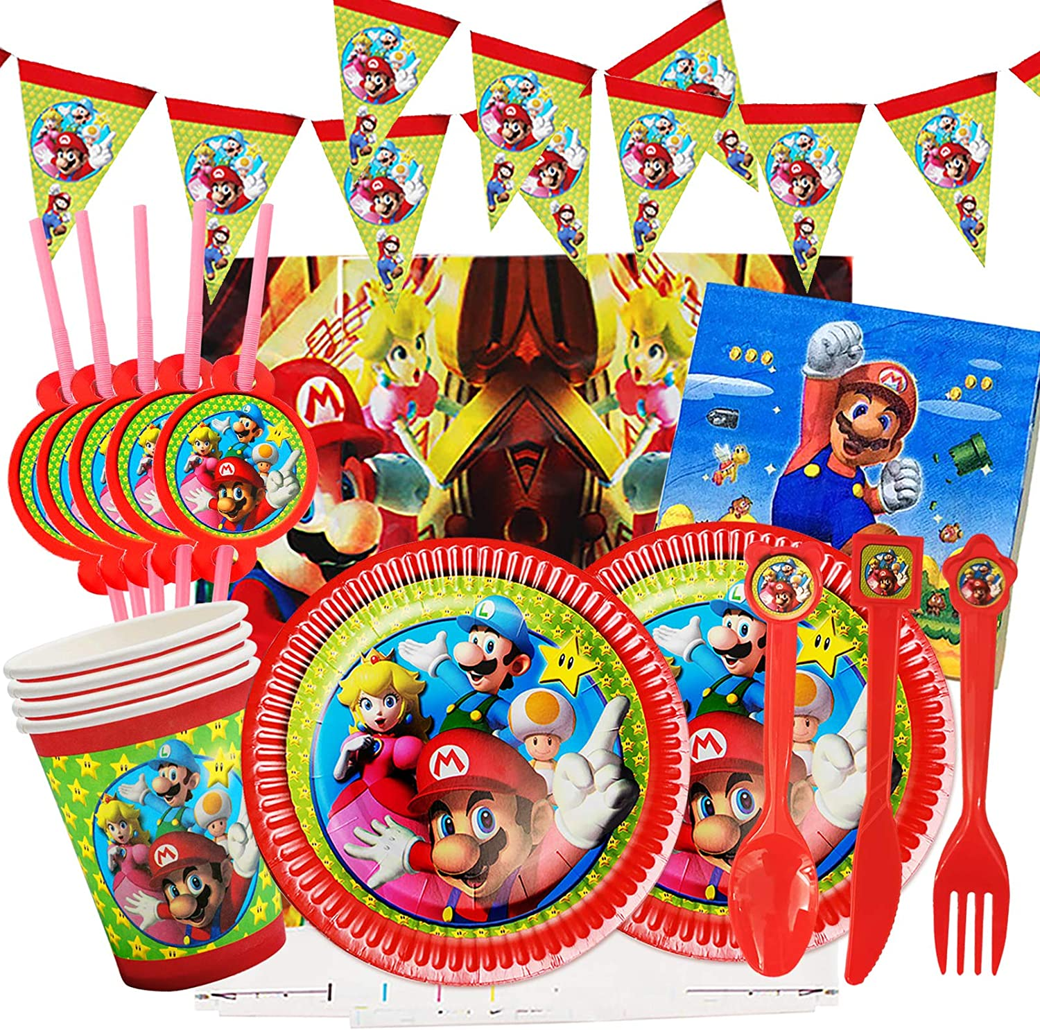 Gxhong Super Mario Birthday Party Supplies Decorations Disposable Dinnerware Paper Plates and Napkins for Kids Boy and Girl Theme Baby Shower School Party Decor Daily Favor Set Serve 10 Guests