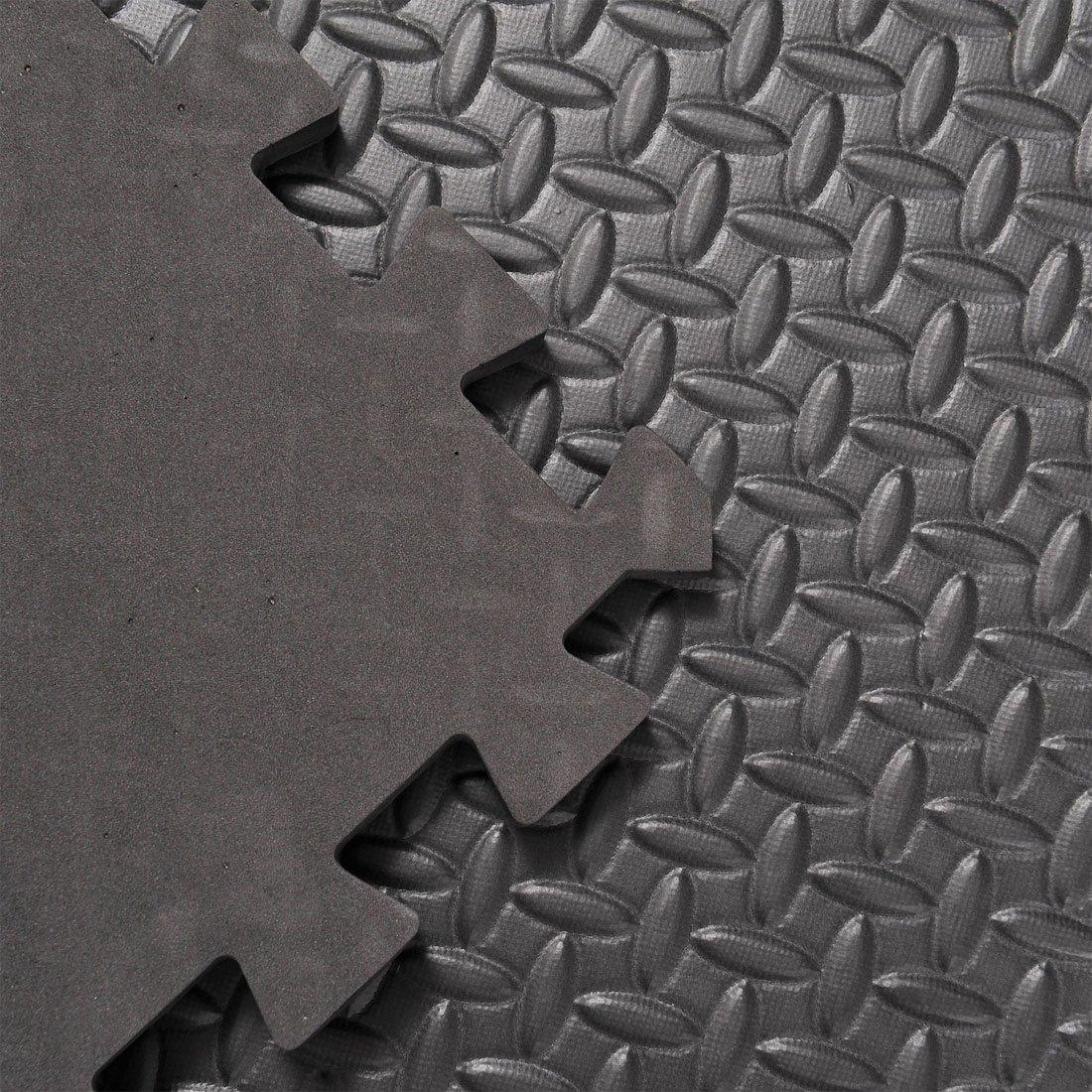 Blanc/ 16 SQ FT /Noir Leafage Dalles en mousse Tapis de sol embo/îtables Gym jouer Garage Atelier Tapis de sol 2/m x 2/m 60/x 60/cm 4 Mats