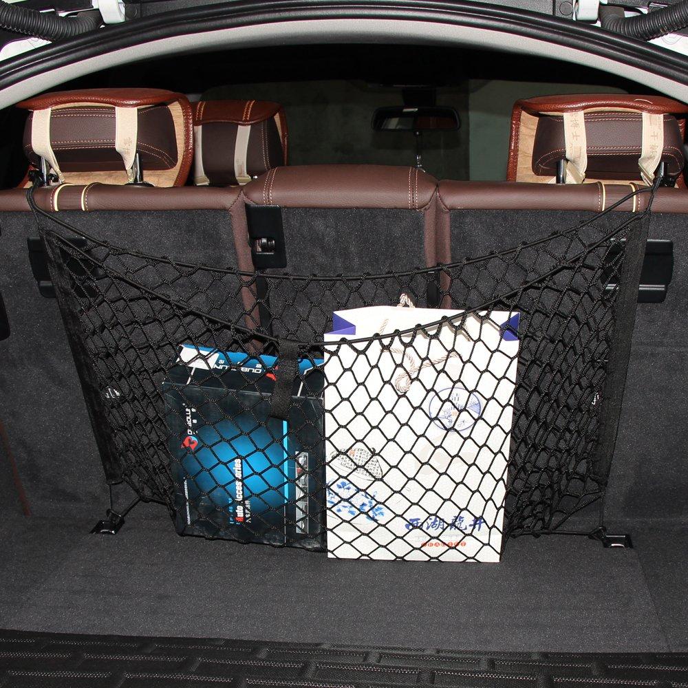 with 4 Hook MINISTAR 2-Layer Universal Storage Mesh//Organizer Car Trunk Storage Net Car Trunk Cargo Luggage Net Holder for Car Van SUV Flexible Elastic Nylon Rear Cargo Organizer 45.2x23.6