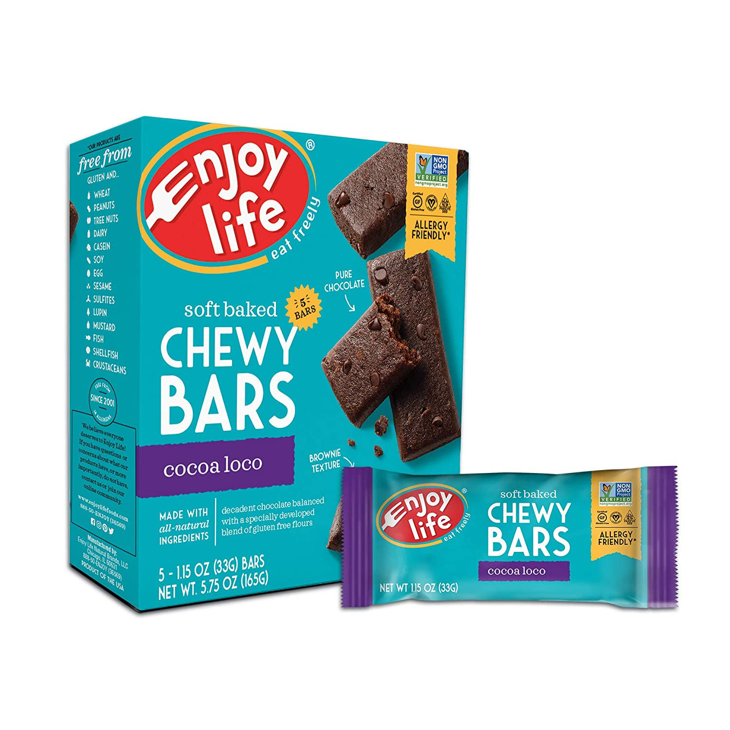 Enjoy Life Chewy Bars, Cocoa Loco Nut Free Bars, Soy Free, Dairy Free, Non GMO, Gluten Free, 6 Boxes (30 Bars Total)