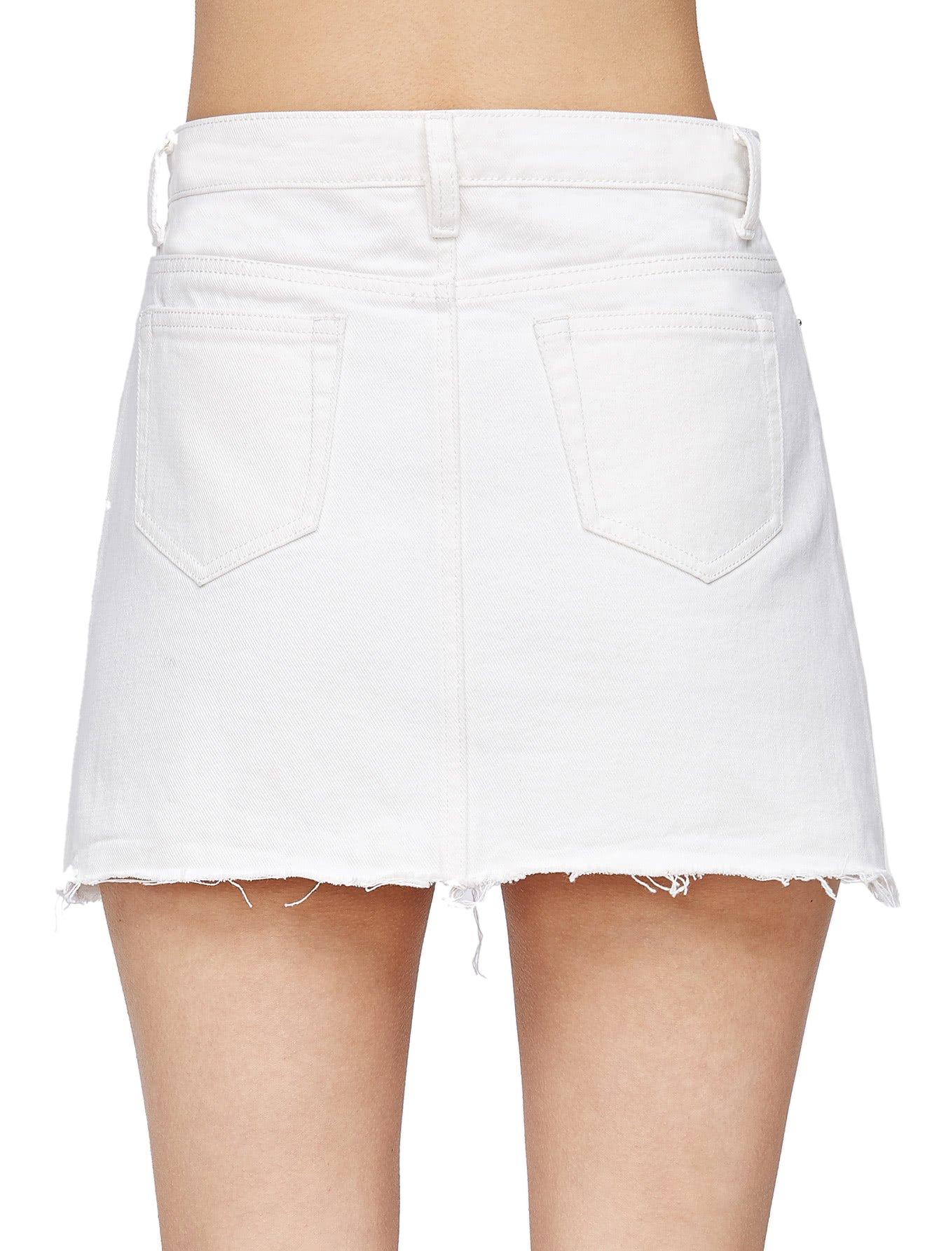 Verdusa Women's Casual Distressed Fray Hem A-Line Denim Short Skirt White S by Verdusa (Image #2)