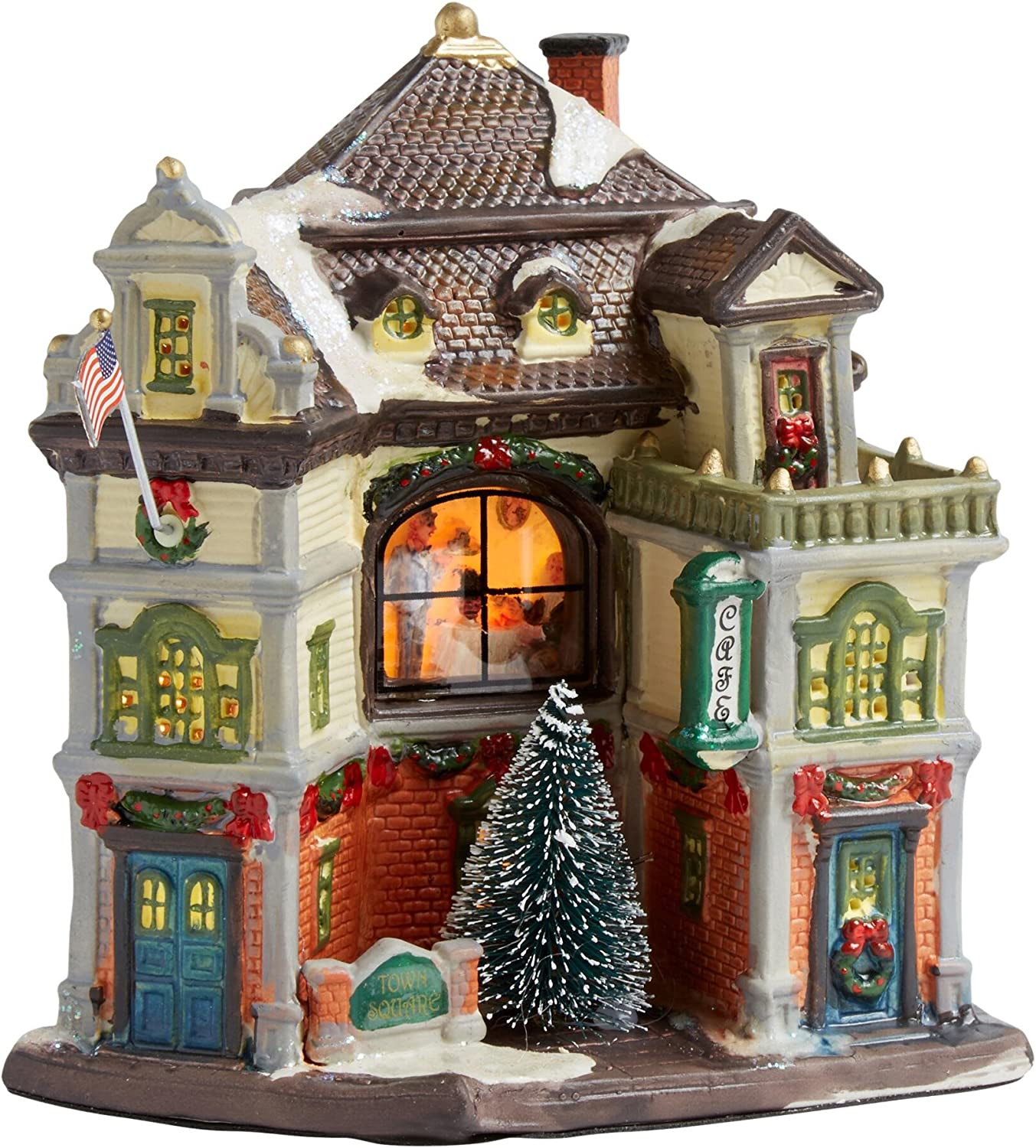 Holiday Christmas Lighted Porcelain House - Town Square