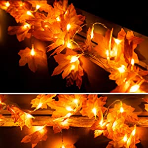 OWUSHEE Thanksgiving Lights, 20 Led Maple Leaves Lights for Fall Decoration, Autumn Leaf Fairy Light for Thanksgiving Decoration Home, Garland, Outdoor Indoor
