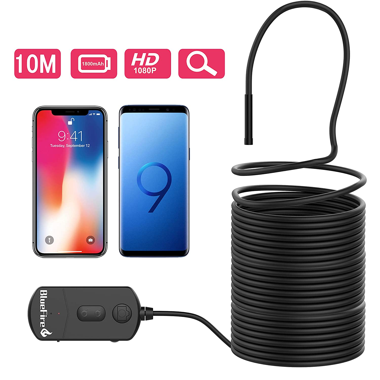 BlueFire WiFi Endoscope Camera, 1080P 8.2mm Zoomable Picture 1800mAh Battery 2MP Semi-rigid Wireless HD Inspection Camera, Borescope Snake Camera for Android and iOS Smartphone(15M) ZN85BF-UK-123