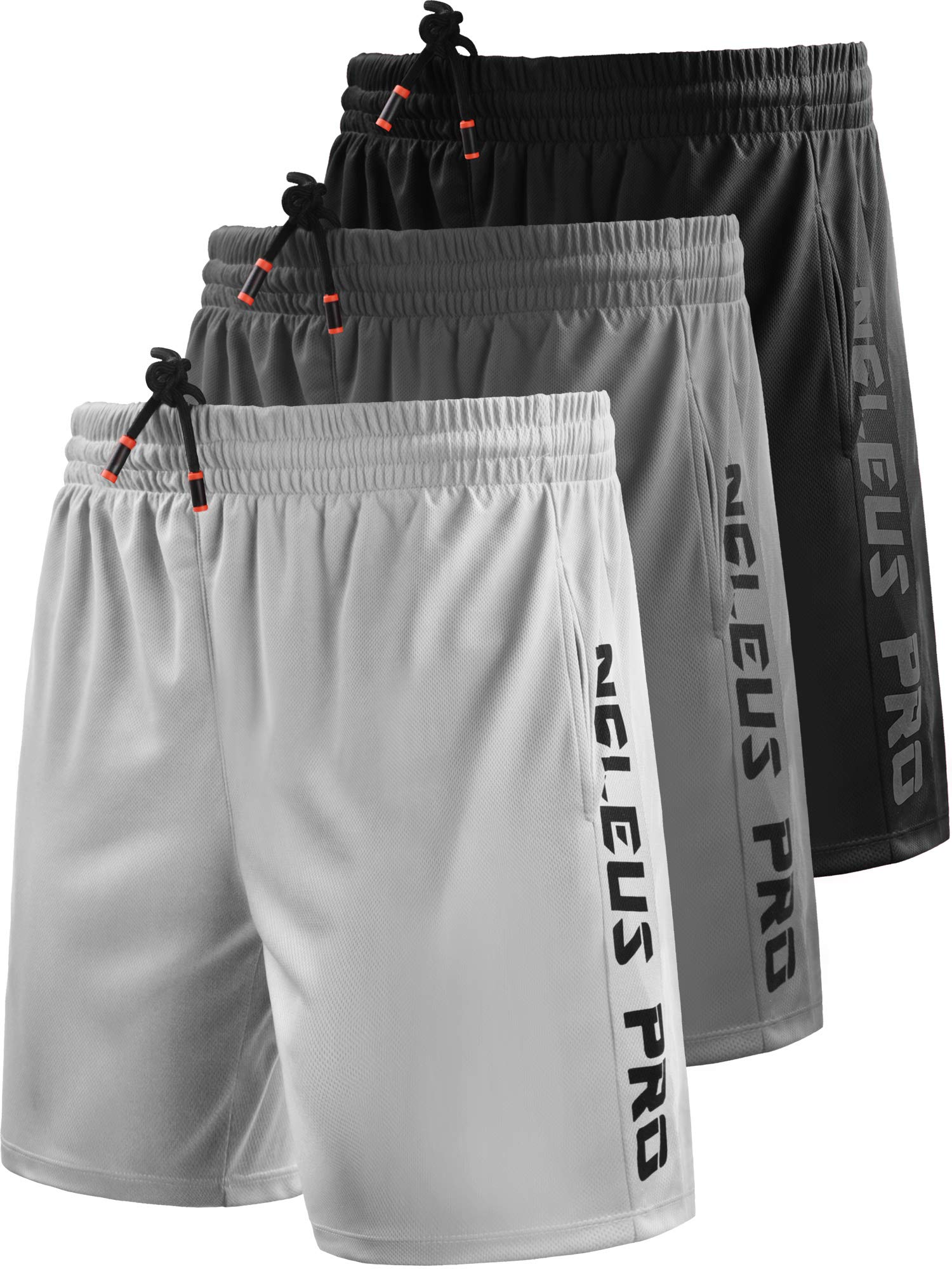 Neleus Men's 7'' Workout Running Shorts with Pockets,6056,3 Pack,Black/Grey/White,L,EU XL by Neleus